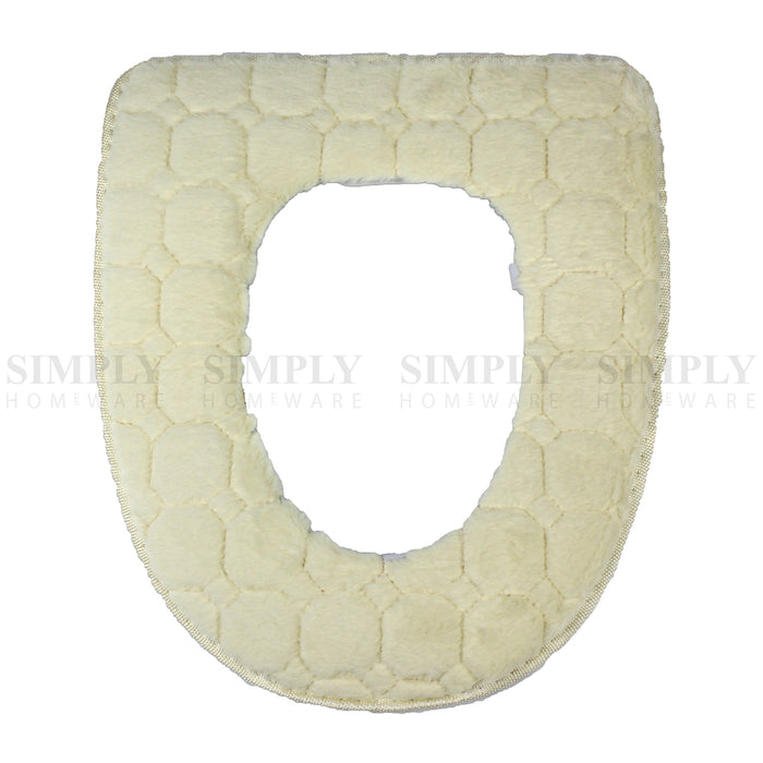 Toilet Seat Cover Soft Bathroom Warmer Bath Covers Seat Lid 2pcs White, Bathmats, Rugs & Toilet Covers - Simply Homeware, Simply Homeware - 8