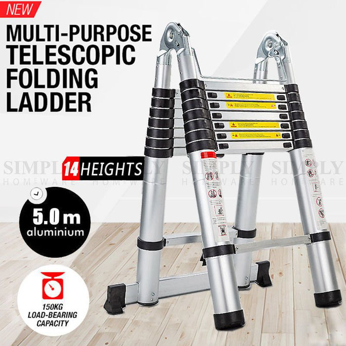 Telescopic Aluminium Ladder Multipurpose 3.8 5M Folding Step Extension Platform - Simply Homeware