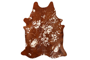 Floral Brown Beauty Embellished Cowhide Floor Covering