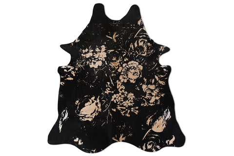 Floral Black Beauty Embellished Cowhide Floor Covering