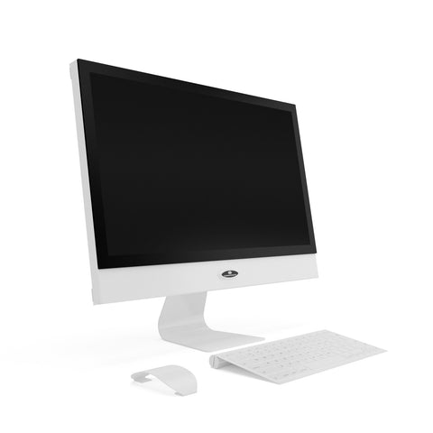 21 inch white computer prop with monitor keyboard mouse closed back