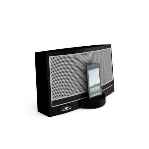 Smart phone speaker dock prop in black