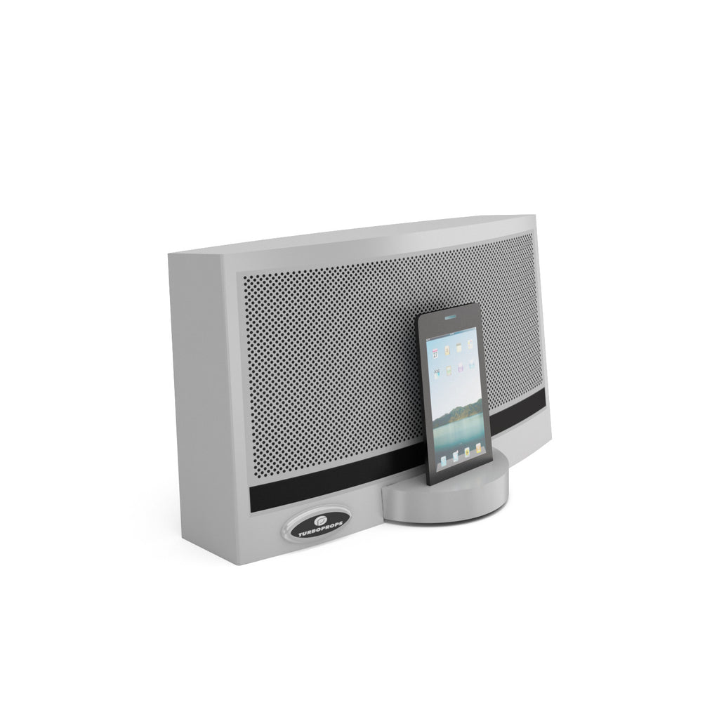 Smart phone speaker dock prop in platinum