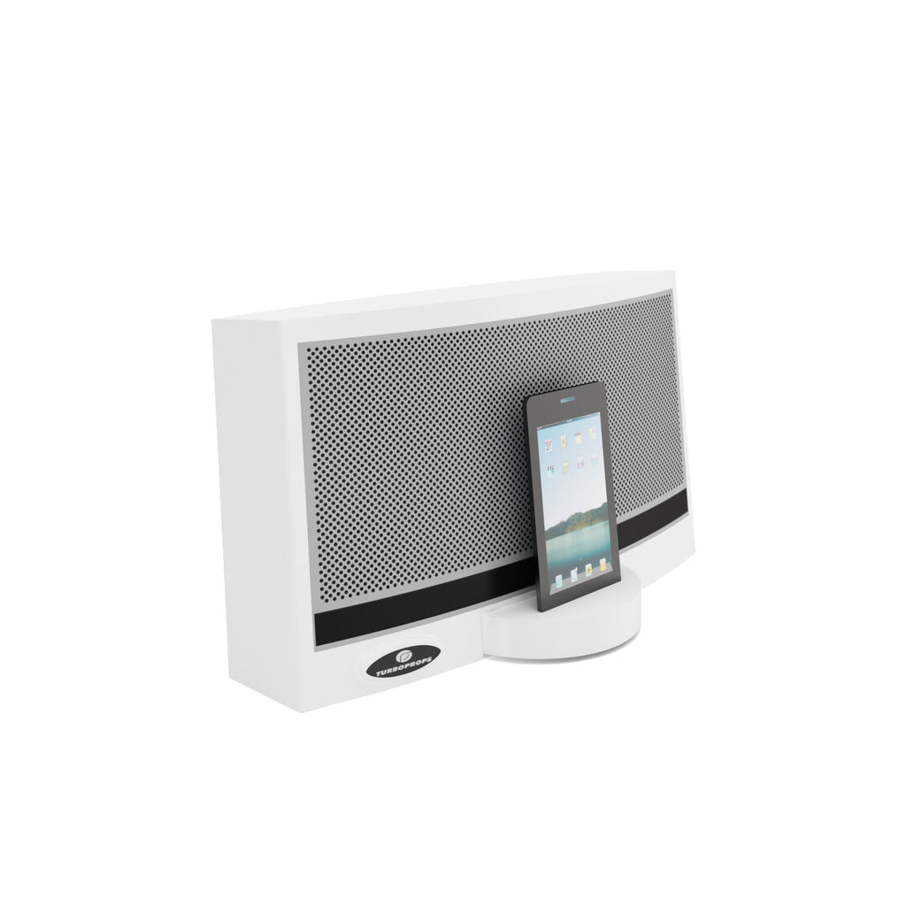 Smart phone speaker dock prop in white
