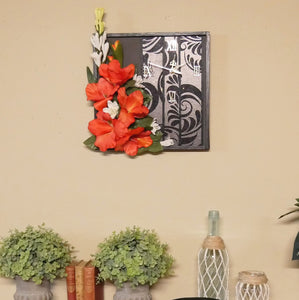 Wall Clock With Gladiola Flowers