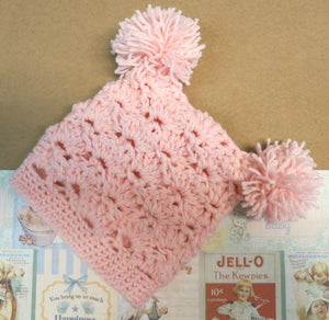 Crochet-Beanie-with-Pom-Poms-Nchanted-Gifts