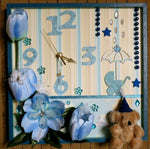 Load image into Gallery viewer, Blue-Teddy-Nursery-Wall-Clock-Nchanted-Gifts