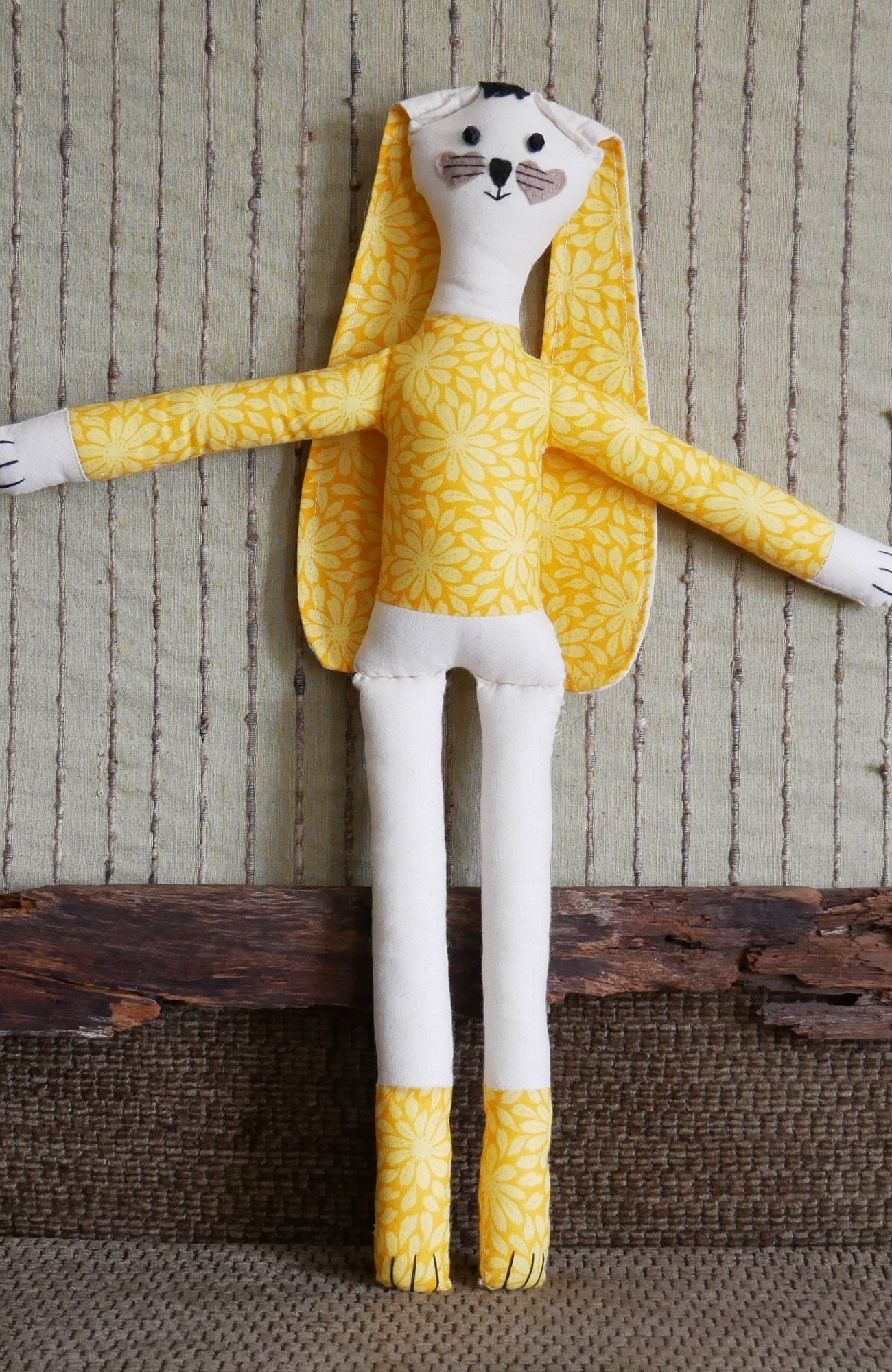 Handmade Rag Doll In Yellow Daisy Soft Cloth - Nchanted Gifts