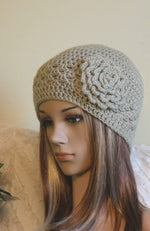 Load image into Gallery viewer, Womens-Crochet-Flower-Beanie-Nchanted-Gifts