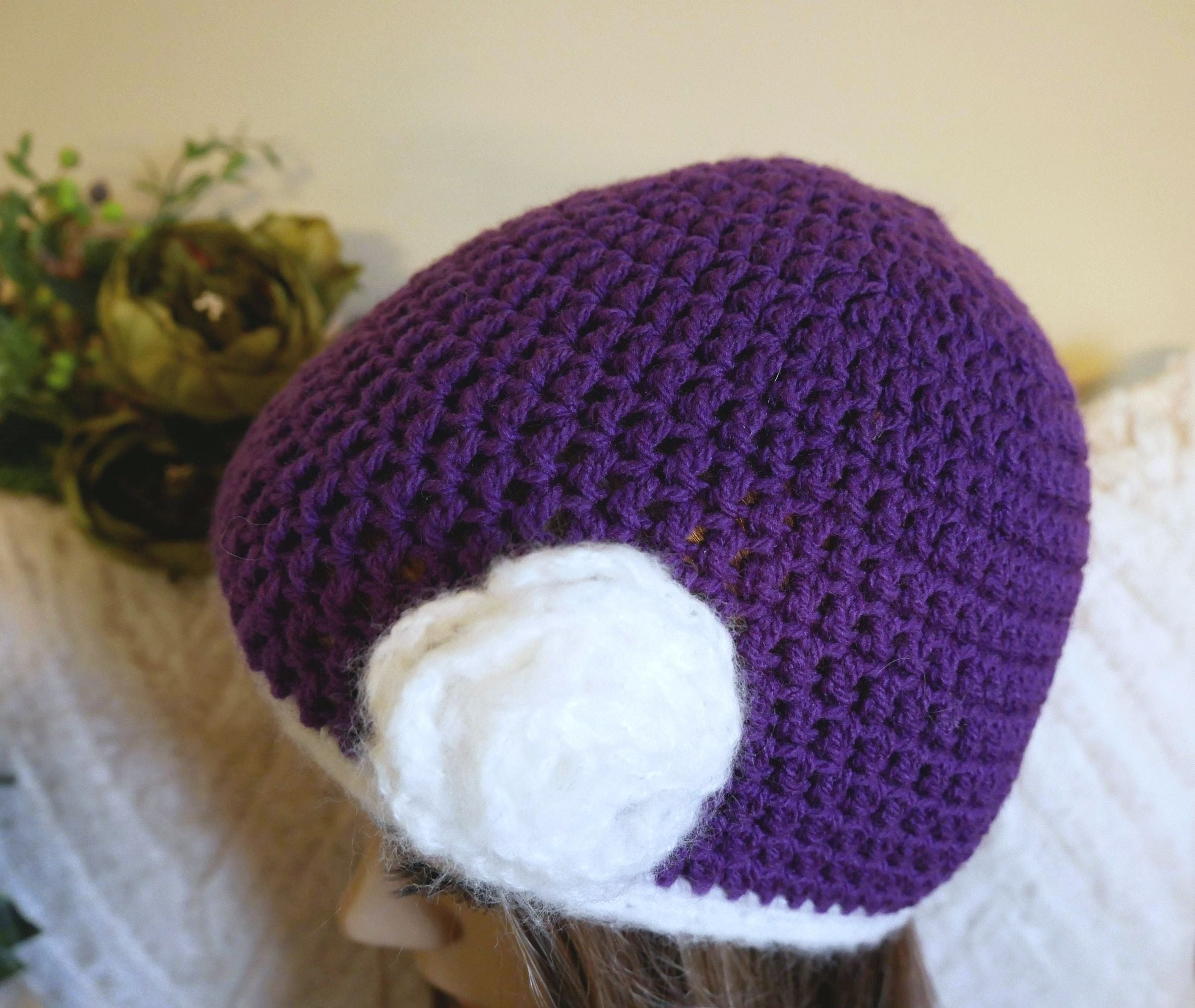 Crochet-Hat-With-Flower-Nchanted-Gifts