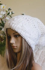 Load image into Gallery viewer, Cable-Band-Slouchy-Beanie-With-Pom-Pom-Nchanted-Gifts
