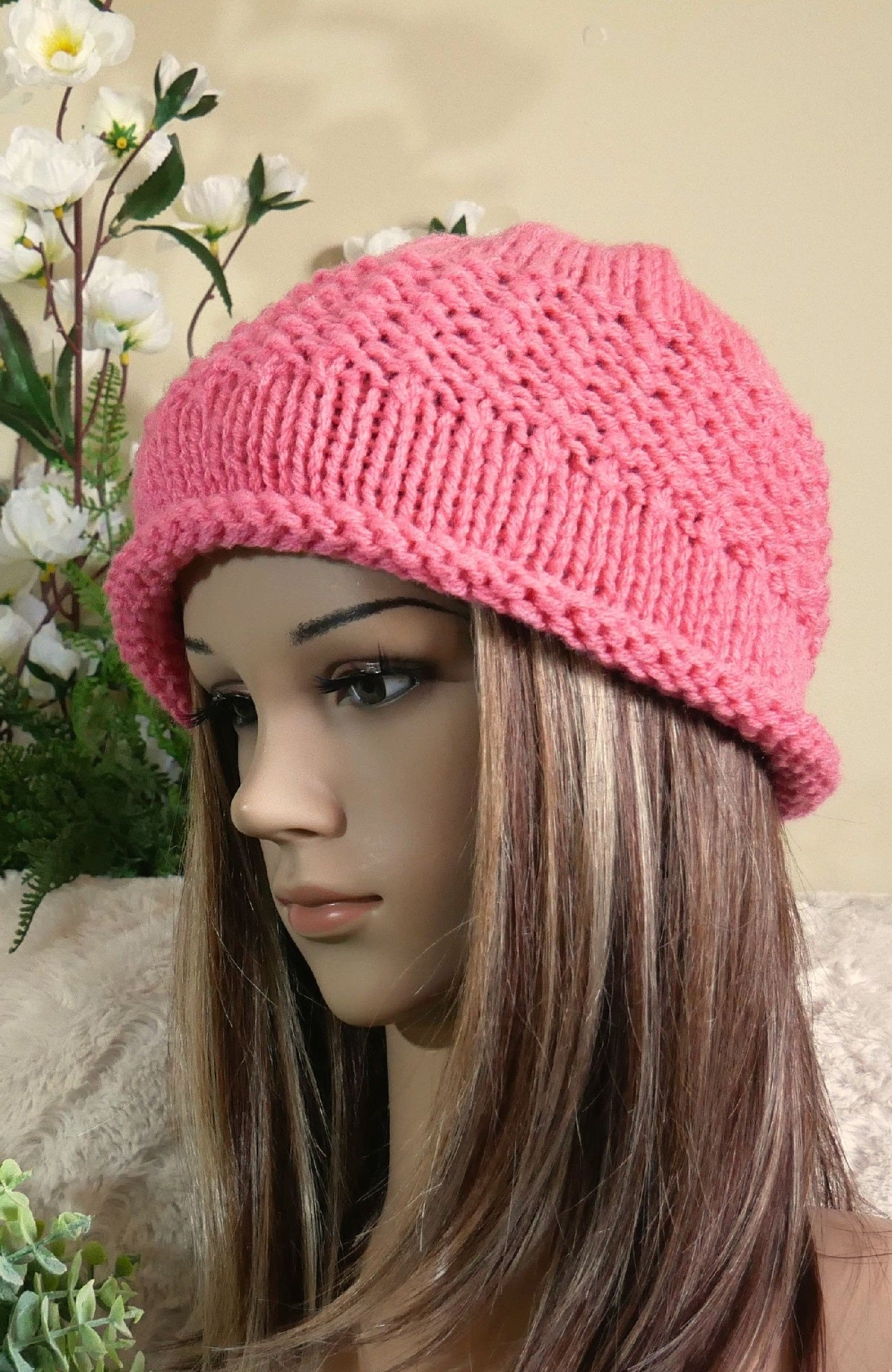 Knit-Hat-With-Rolled-Band-Nchanted-Gifts
