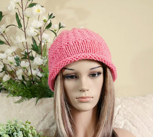 Knit Hat With Rolled Band