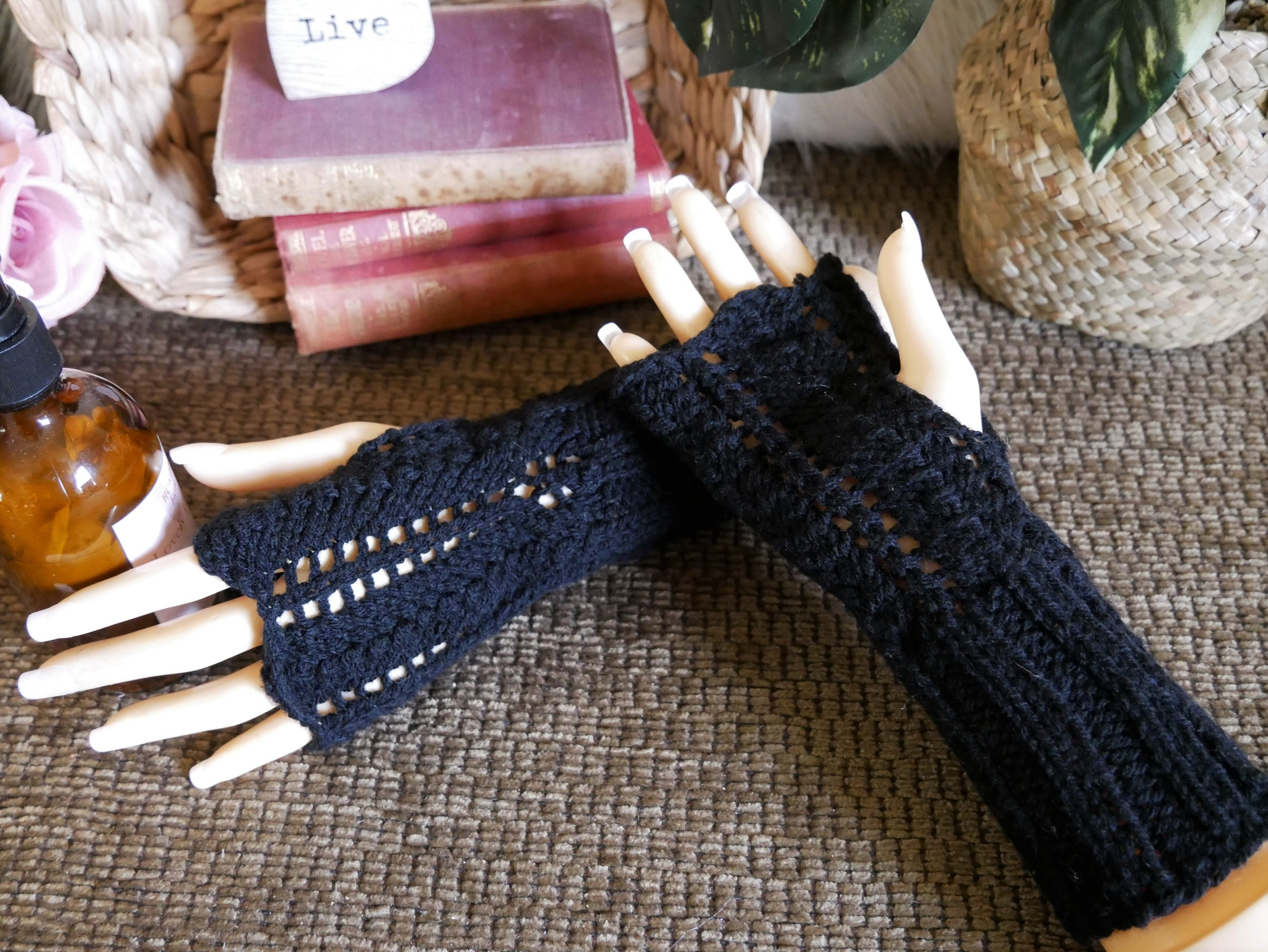 Black-Lace-Fingerless-Gloves-Nchanted-Gifts