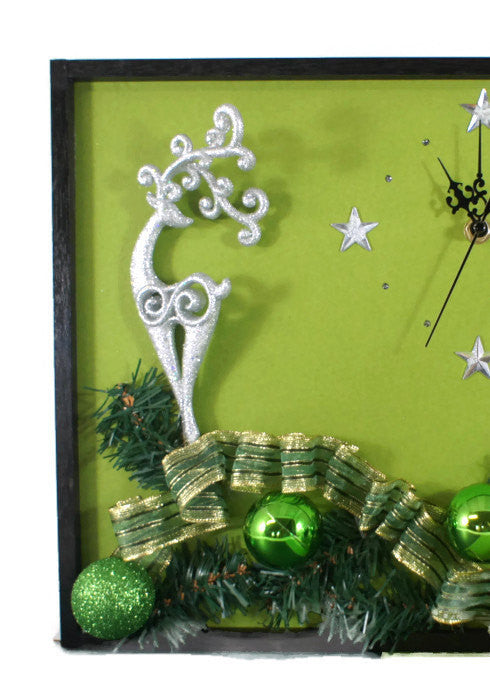 Silver-Reindeer-Wall-Clock-Nchanted-Gifts