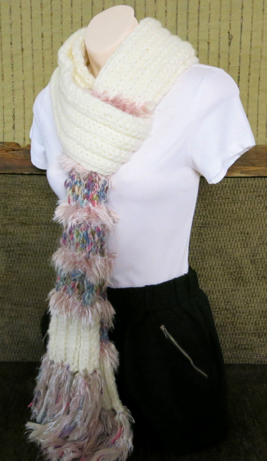 Thick-Pink-Fluffy-Wool-Scarf-Nchanted-Gifts