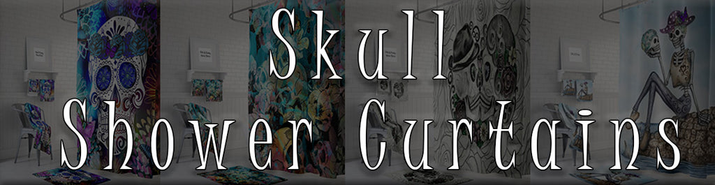 Skull Shower Curtain Collage Banner Image