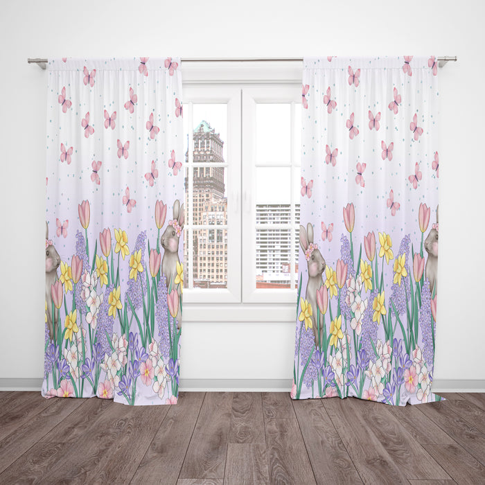 Spring Fresh Floral Window Curtains