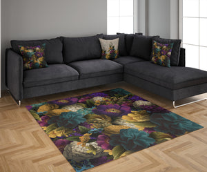 Romantic Floral Throw Rug, Area Throw Rugs