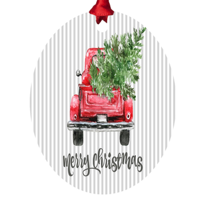Red Truck With Christmas Tree Metal Ornament