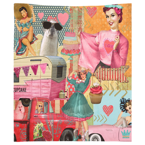 Retro Glamping Girls Tapestry Indoor or Outdoor