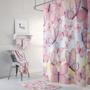 Pink Butterfly Bathroom Decor Shower Curtain