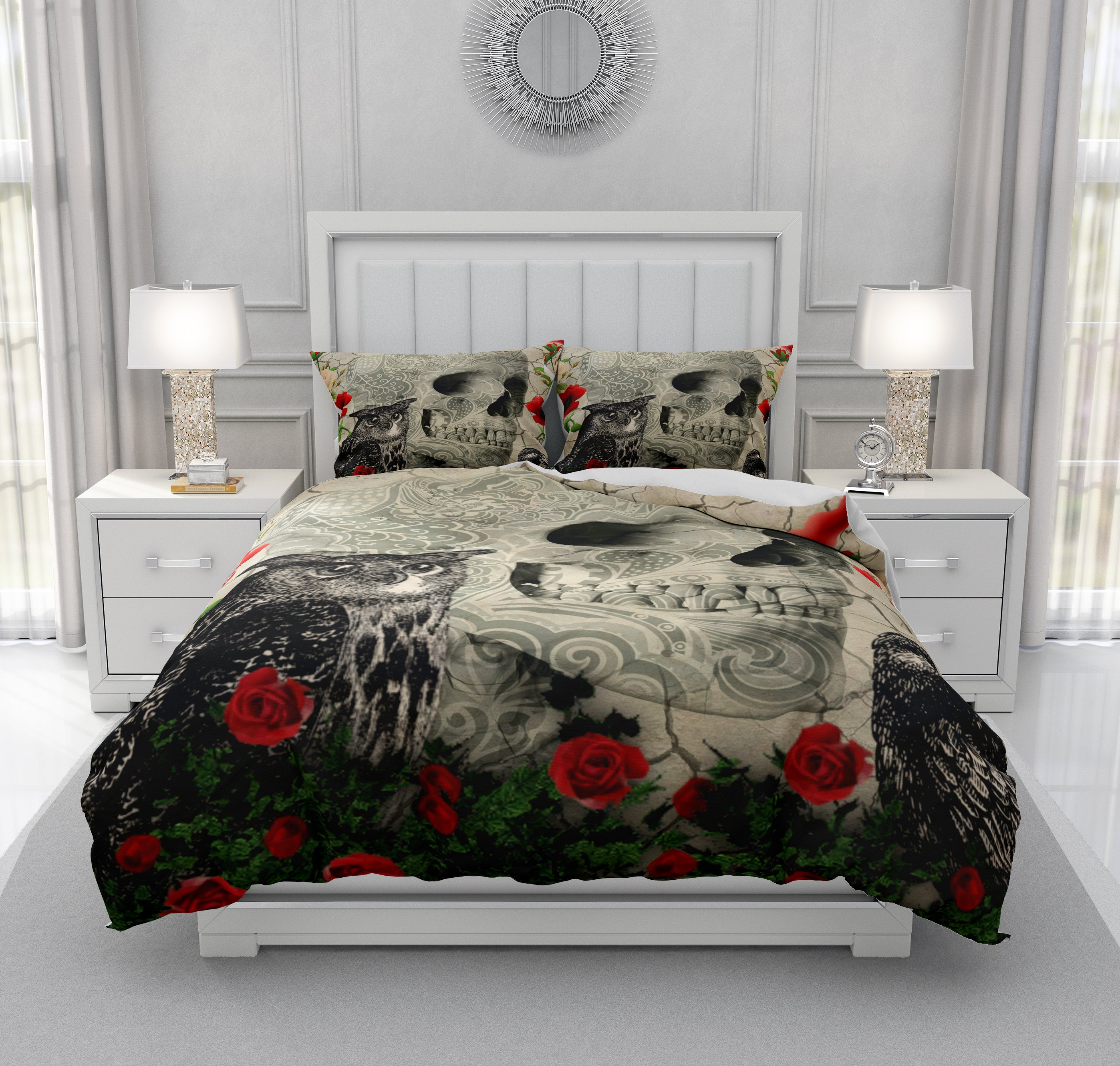Crow Owl and Poppies Gothic Skull Bedding