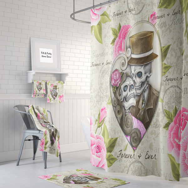 Forever and Ever  , Sugar Skull Bathroom Decor, Shower Curtain, Bath Mat, Towels