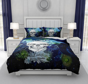 Navy Blue Twilight Moon and Crow Gothic Skull Bedding