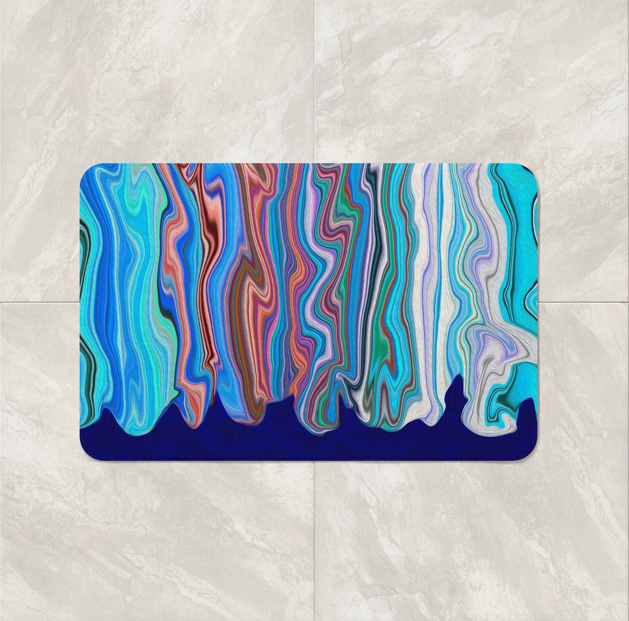 Blue Hippie Swirl bath mat