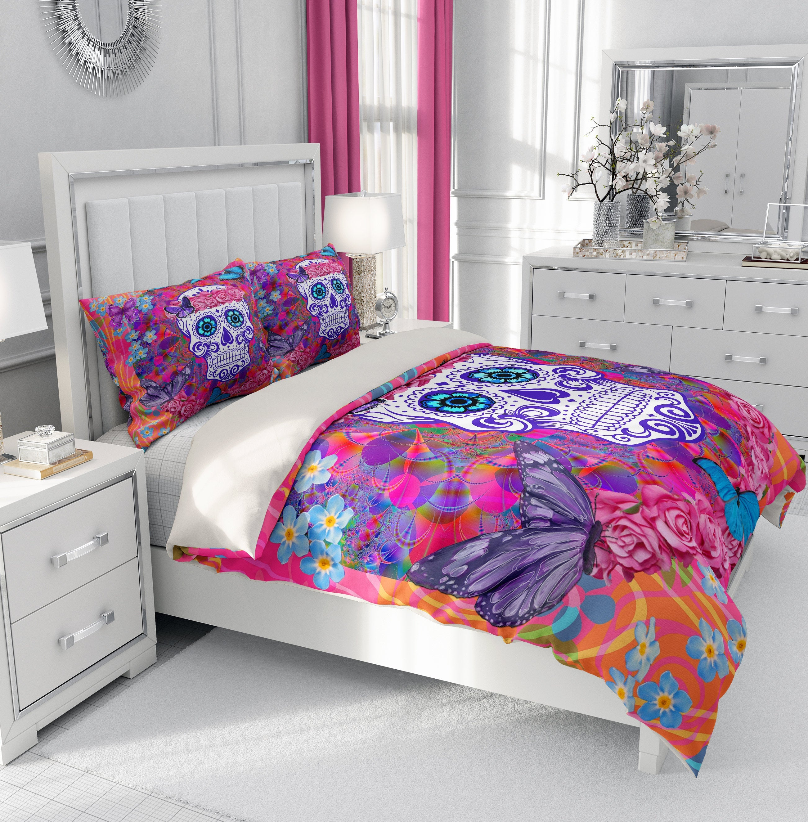 Miss Candace Sugar Skull Comforter or Duvet Cover Bedroom Set