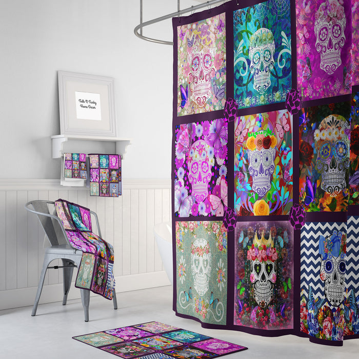The Purple Block Design Sugar Skull Shower Curtain and Accessories