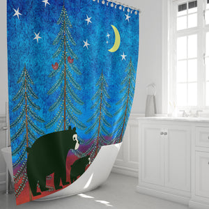 Bear Shower Curtain, Lodge Chic Bathroom Decor
