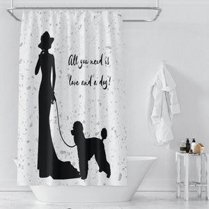 All You Need is Love and a Dog, Silhouette Shower Curtain