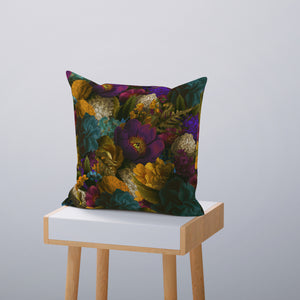 Blue Lotus Floral Throw Pillow