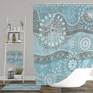 Aqua Boho Shower Curtain Optional Accessories