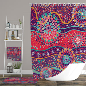 Boho Red Shower Curtain Optional Accessories