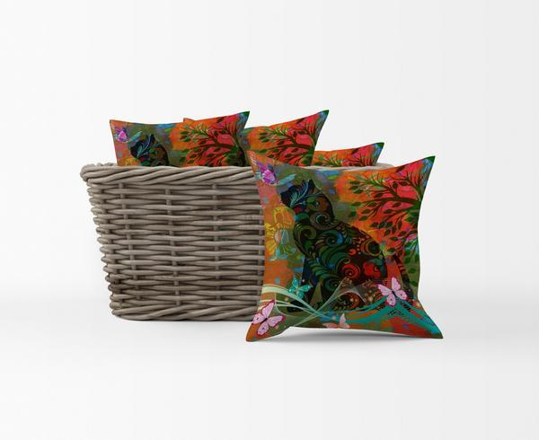 The Abstract Boho Cat and Butterflies Throw Pillows