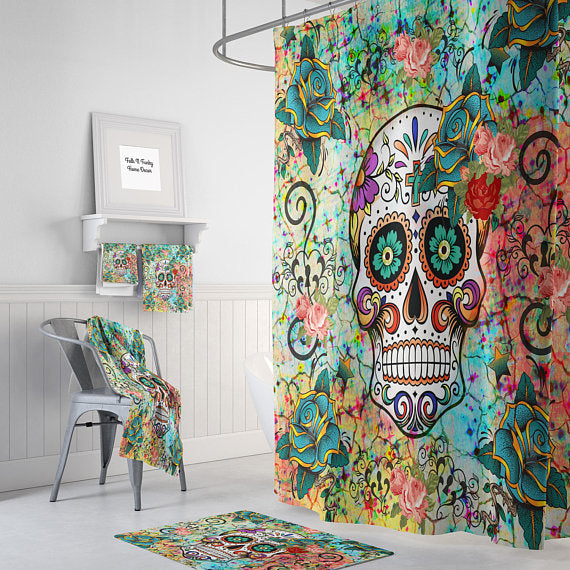 Teal Orange And Blue Abstract Sugar Skull Shower Curtain