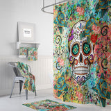 Teal, Orange and Blue Abstract Sugar Skull Shower Curtain | Folk N Funky Skull Decor