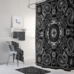 Black and White Boho Bandanna Bathroom Set Shower Curtain