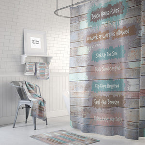 Beach House Rules Shower Curtain, Folk N Funky Bathroom Decor