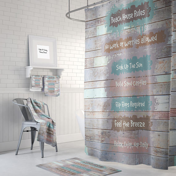 Beach House Rules Shower Curtain