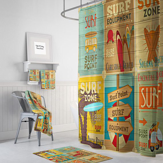 The Beach Surfer Ads Shower Curtain