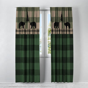 Buffalo Plaid Woodland Bear Curtains Green
