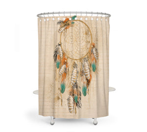 Boho Chic Beige Dream Catcher Shower Curtain