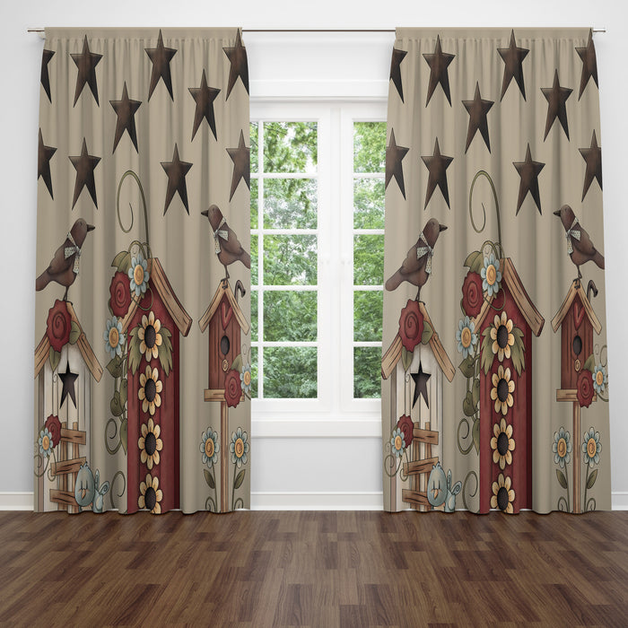 Black Bird Birdhouse Country Window Curtains, Valance