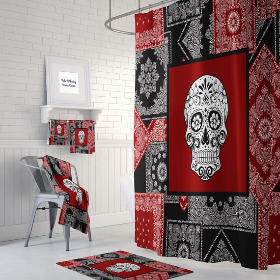 Black and Red Sugar Skull Shower Curtain