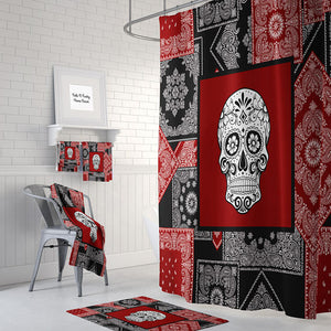 The Black and Red Playing Card Sugar Skull Shower Curtain