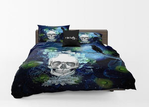 Navy Blue Twilight Moon and Crow Gothic Skull Comforter or Duvet Cover Bedroom Set